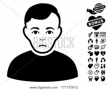 Sad Man pictograph with bonus valentine pictograph collection. Vector illustration style is flat iconic black symbols on white background.