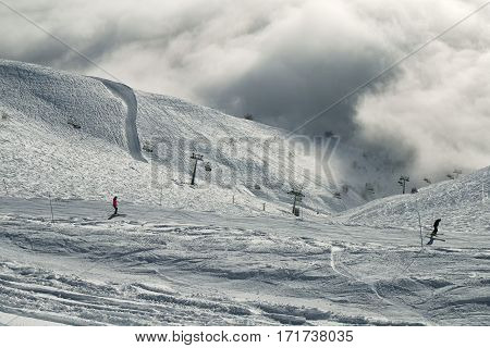Ski slopes in the clouds on the southern slope Aibga Ridge of the Western Caucasus at Rosa Khutor Alpine Resort