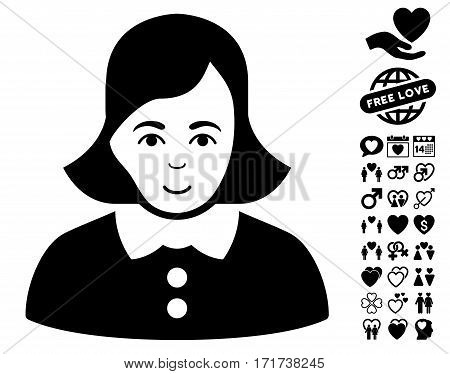 Woman pictograph with bonus valentine pictograph collection. Vector illustration style is flat iconic black symbols on white background.