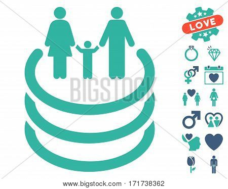 Family Portal pictograph with bonus amour icon set. Vector illustration style is flat iconic cobalt and cyan symbols on white background.