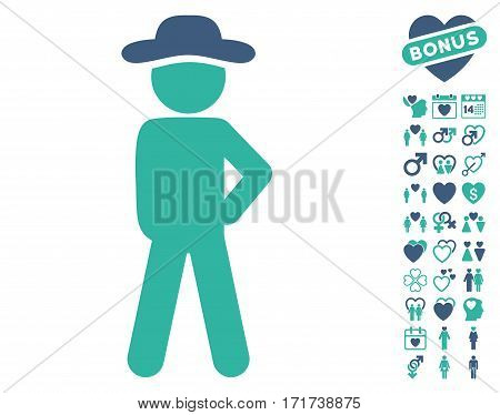 Gentleman Audacity icon with bonus passion pictograph collection. Vector illustration style is flat iconic cobalt and cyan symbols on white background.