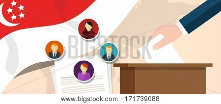 Singapore democracy political process selecting president or parliament member with election and referendum freedom to vote vector