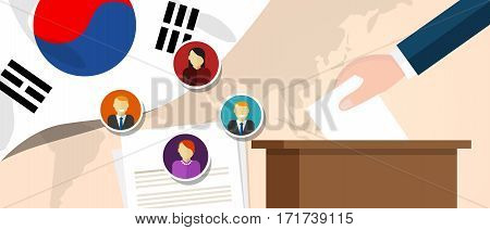South Korea democracy political process selecting president or parliament member with election and referendum freedom to vote vector