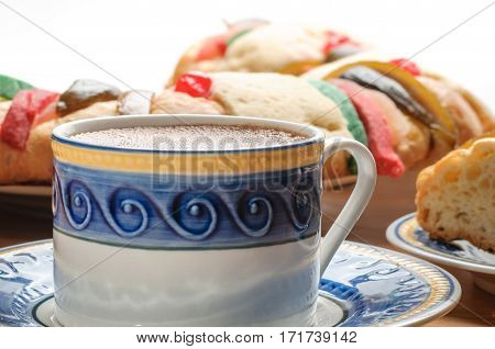 Traditional Mexican hot Chocolate cup with Rosca de reyes