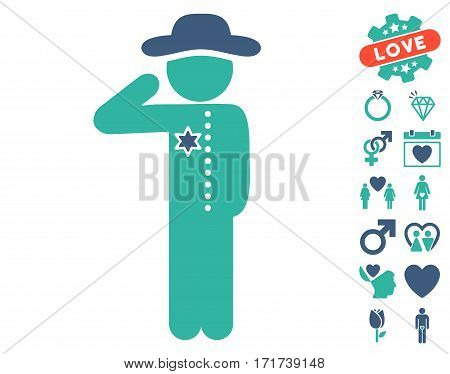 Gentleman Officer icon with bonus romantic graphic icons. Vector illustration style is flat iconic cobalt and cyan symbols on white background.