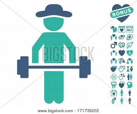 Gentleman Power Lifting pictograph with bonus amour pictures. Vector illustration style is flat iconic cobalt and cyan symbols on white background.