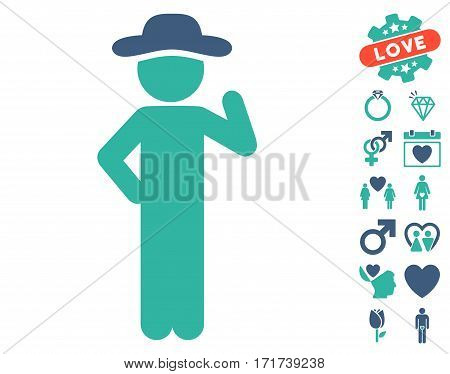 Gentleman Proposal pictograph with bonus dating clip art. Vector illustration style is flat iconic cobalt and cyan symbols on white background.