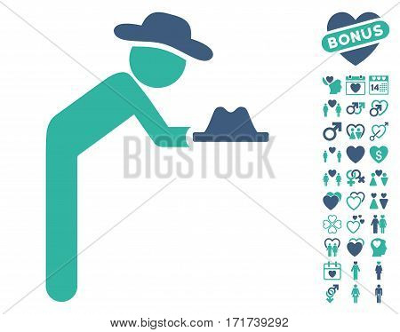 Gentleman Servant pictograph with bonus decorative design elements. Vector illustration style is flat iconic cobalt and cyan symbols on white background.