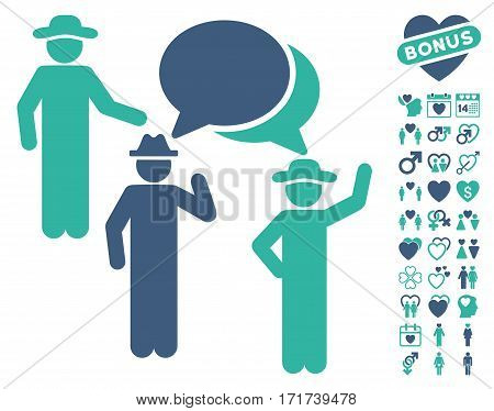Gentlemen Discussion icon with bonus marriage pictures. Vector illustration style is flat iconic cobalt and cyan symbols on white background.
