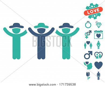 Gentlemen Hands Up Roundelay pictograph with bonus dating icon set. Vector illustration style is flat iconic cobalt and cyan symbols on white background.