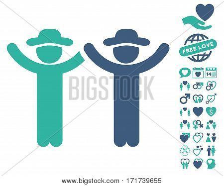 Hands Up Gentlemen pictograph with bonus dating design elements. Vector illustration style is flat iconic cobalt and cyan symbols on white background.
