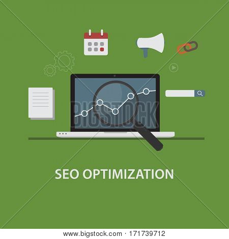 Search Engine Optimization Illustration. Laptop with Graph and Magnifying Glass and SEO Icon Set