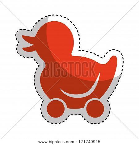 ducky wheels isolated icon vector illustration design