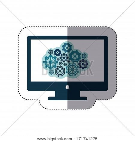 color sticker with concept of cloud maintenance service of lcd monitor vector illustration