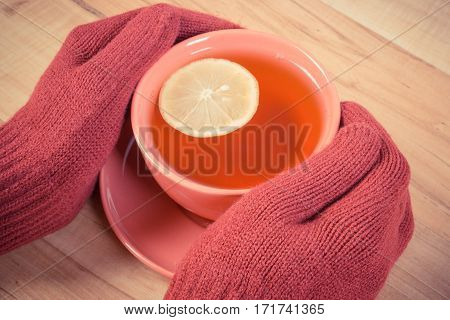 Vintage Photo, Hand Of Woman In Woolen Gloves Holding Cup Of Hot Tea On Table