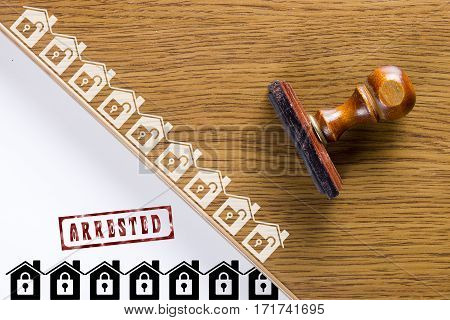 Wooden stamp for documents. Real estate activities.