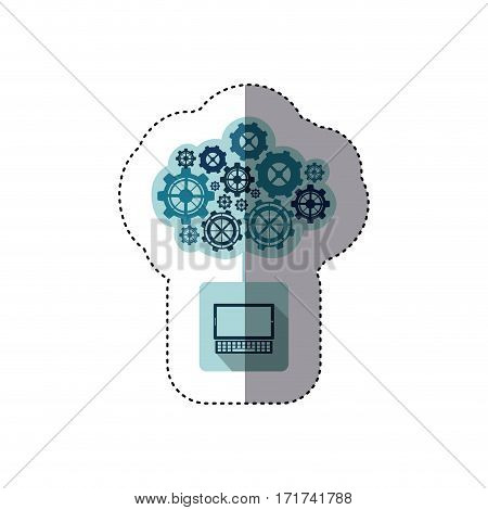 color sticker with concept of maintenance service of tablet and keyboard vector illustration