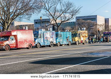 Washington DC, USA - January 28, 2017: Food trucks on street by National Mall
