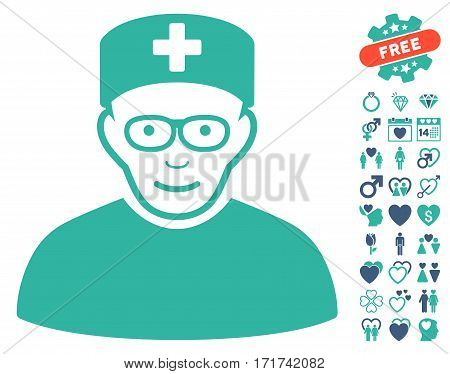 Medical Specialist pictograph with bonus amour design elements. Vector illustration style is flat iconic cobalt and cyan symbols on white background.