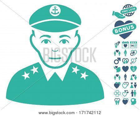 Military Captain pictograph with bonus marriage images. Vector illustration style is flat iconic cobalt and cyan symbols on white background.