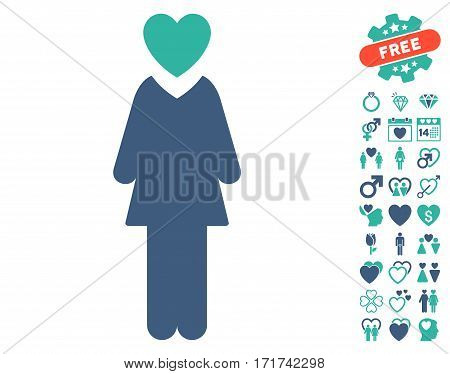 Mistress pictograph with bonus lovely symbols. Vector illustration style is flat iconic cobalt and cyan symbols on white background.