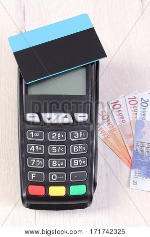 Payment Terminal With Contactless Credit Card And Currencies Euro, Cashless Paying For Shopping Or P