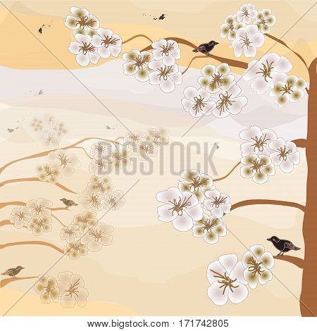Abstract landscape with blooming cherry, birds,sky,mountains in pastel sepia colors