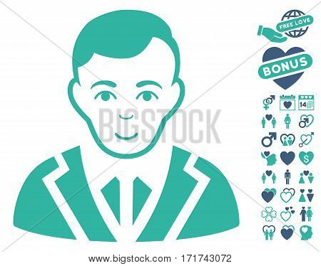 Noble icon with bonus marriage clip art. Vector illustration style is flat iconic cobalt and cyan symbols on white background.