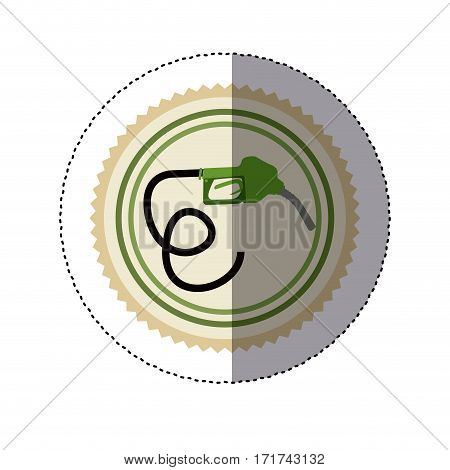 color circular frame sticker with bio fuel hose vector illustration
