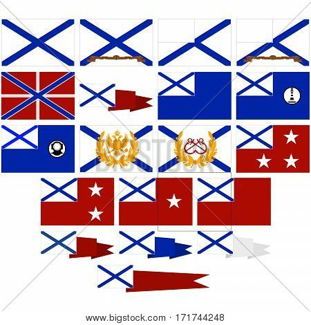Navy flags and pennants in Russia (since 1992). The illustration on a white background.