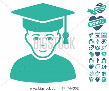 Professor pictograph with bonus love design elements. Vector illustration style is flat iconic cobalt and cyan symbols on white background.