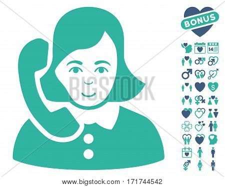Receptionist pictograph with bonus romantic images. Vector illustration style is flat iconic cobalt and cyan symbols on white background.