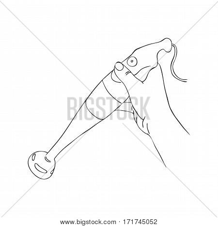 cooking hand with blender, line drawing isolated symbol at white background
