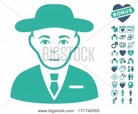 Secret Service Agent icon with bonus decoration symbols. Vector illustration style is flat iconic cobalt and cyan symbols on white background.