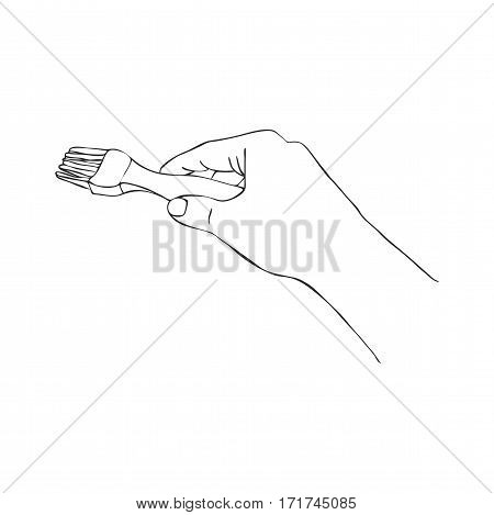cooking hand with pastry brush, line drawing isolated symbol at white background