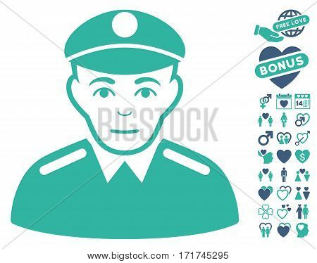 Soldier pictograph with bonus dating pictures. Vector illustration style is flat iconic cobalt and cyan symbols on white background.