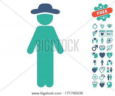 Standing Gentleman pictograph with bonus love symbols. Vector illustration style is flat iconic cobalt and cyan symbols on white background.
