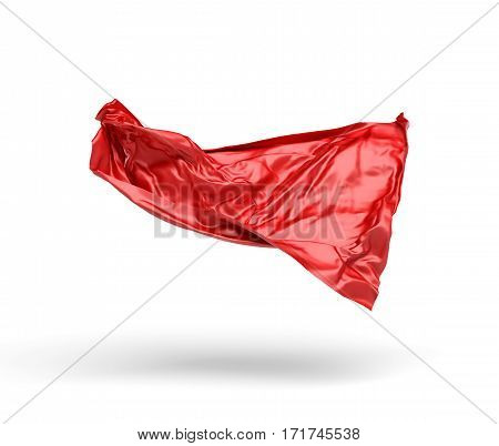 3d rendering of piece of red satin clothes is flying in the air isolated on white background. 3d modelling. Art object. Design element