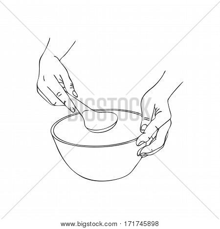 cooking hand with serving spoon and bowl, line drawing isolated symbol at white background