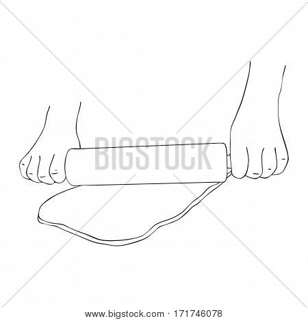 hands rolling dough, line drawing isolated symbol at white background