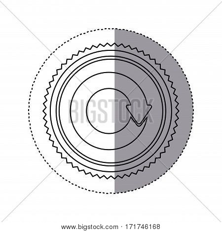 sticker monochrome with circular reuse symbol vector illustration