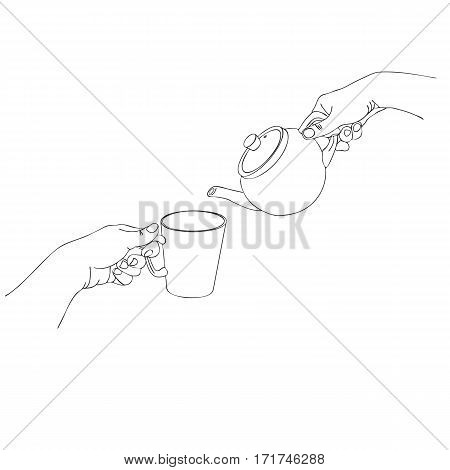 hands pour tea from teapot to cup, line drawing isolated symbol at white background