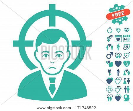 Victim Businessman pictograph with bonus decorative symbols. Vector illustration style is flat iconic cobalt and cyan symbols on white background.