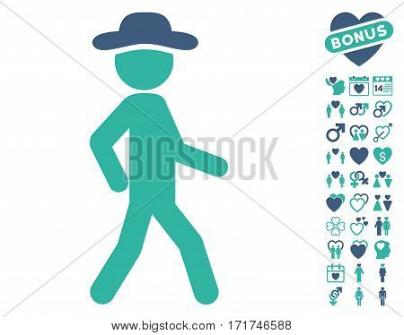 Walking Gentleman icon with bonus decoration graphic icons. Vector illustration style is flat iconic cobalt and cyan symbols on white background.