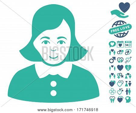Woman pictograph with bonus amour graphic icons. Vector illustration style is flat iconic cobalt and cyan symbols on white background.