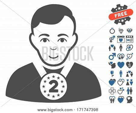 2nd Prizer Sportsman icon with bonus amour pictograms. Vector illustration style is flat iconic cobalt and gray symbols on white background.