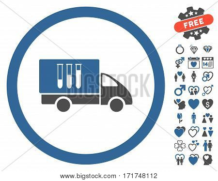Analysis Delivery pictograph with bonus amour pictograph collection. Vector illustration style is flat iconic cobalt and gray symbols on white background.