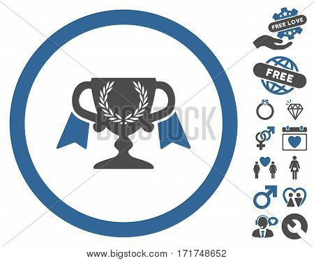 Award Cup pictograph with bonus decorative images. Vector illustration style is flat iconic cobalt and gray symbols on white background.