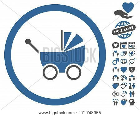 Baby Carriage icon with bonus decorative pictograph collection. Vector illustration style is flat iconic cobalt and gray symbols on white background.