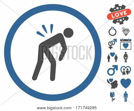 Backache icon with bonus lovely design elements. Vector illustration style is flat iconic cobalt and gray symbols on white background.